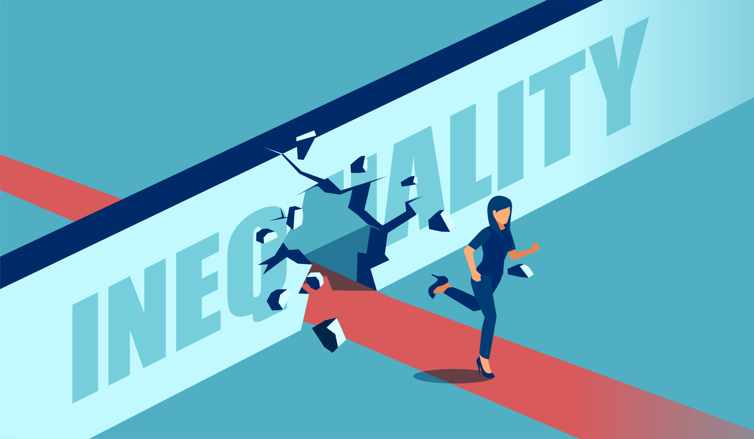 Vector of a strong motivated business woman breaking the wall of inequality